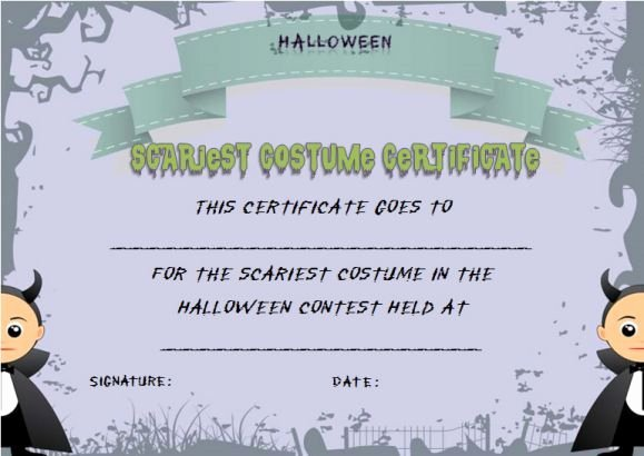 Halloween Costume Certificate Template Elegant Scariest Halloween Costume Certificate Template