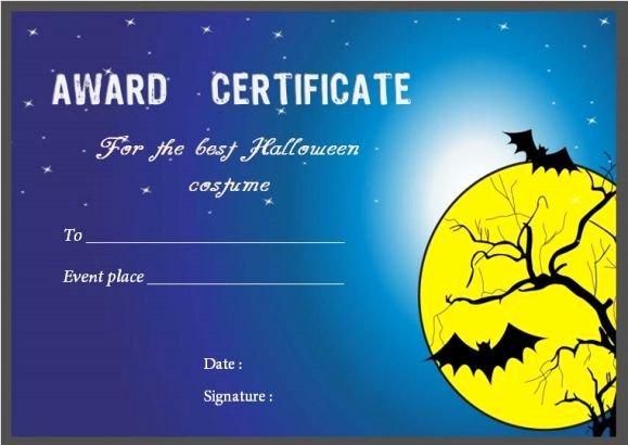 Halloween Costume Certificate Template Fresh Costume Contest Certificate Template