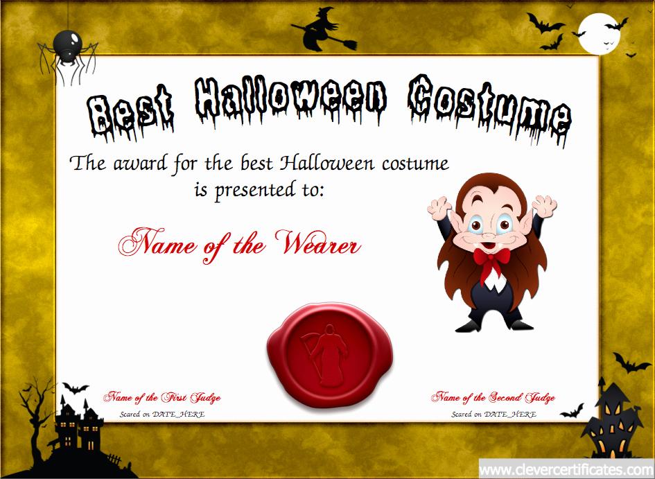 Halloween Costume Certificate Template Inspirational Best Costume Certificate Designer Free Halloween