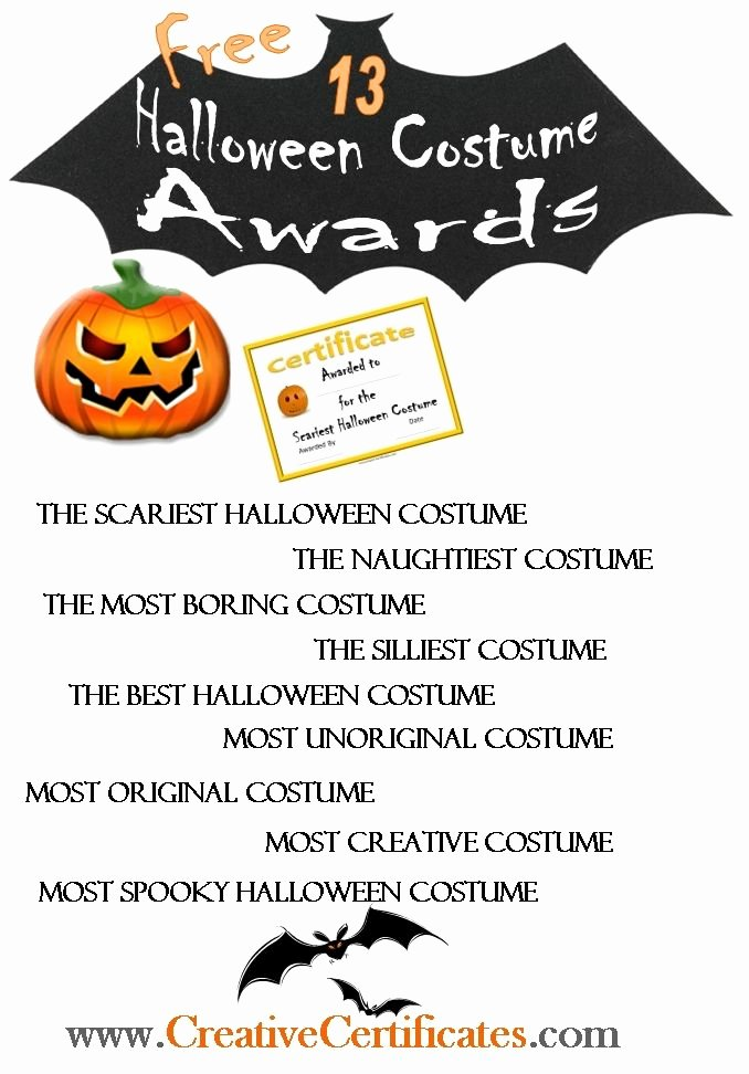 Halloween Costume Certificate Template Inspirational Halloween Costume Awards Free Can Be Edited Online