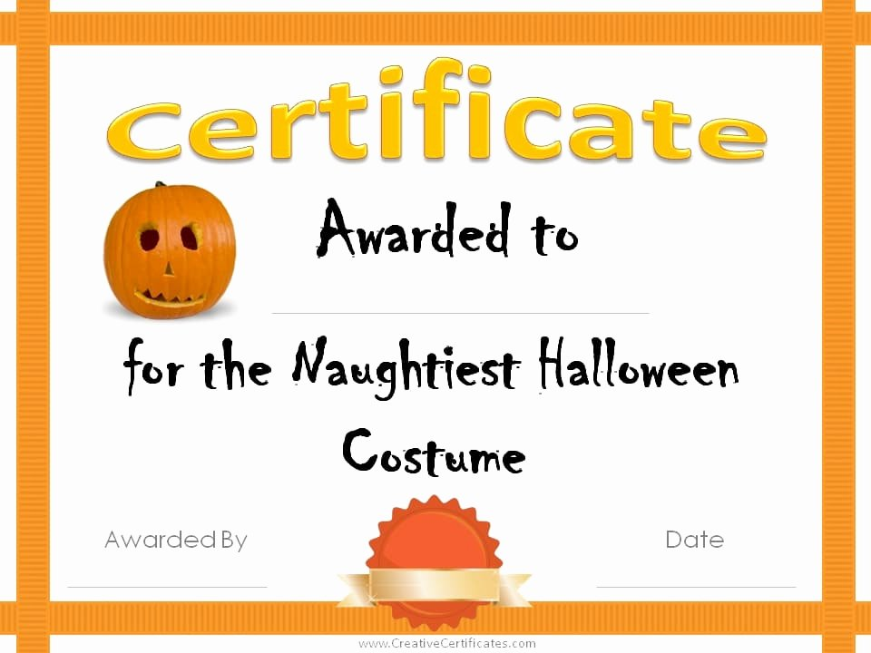 Halloween Costume Certificate Template Lovely Free Halloween Costume Awards