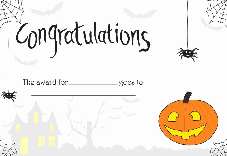 Halloween Costume Certificate Template Luxury Printable Halloween Certificate Great for Teachers or