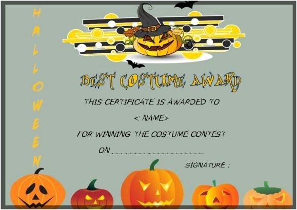 Halloween Costume Certificate Template Unique Best Costume Award Template