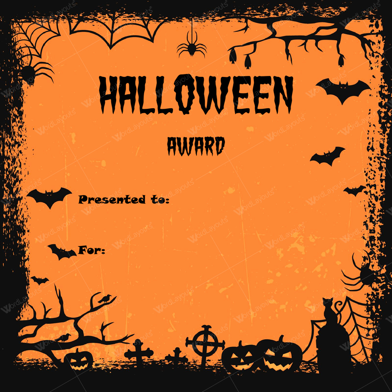 Halloween Costume Certificate Template Unique Halloween Award Certificates 5 Templates for Microsoft Word