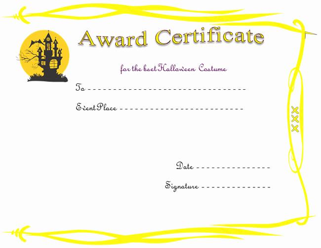 Halloween Costume Certificate Template Unique Haunted House Award Certificate Template
