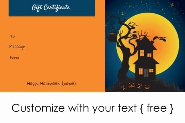 Halloween Gift Certificate Template Awesome Halloween Gift Certificates