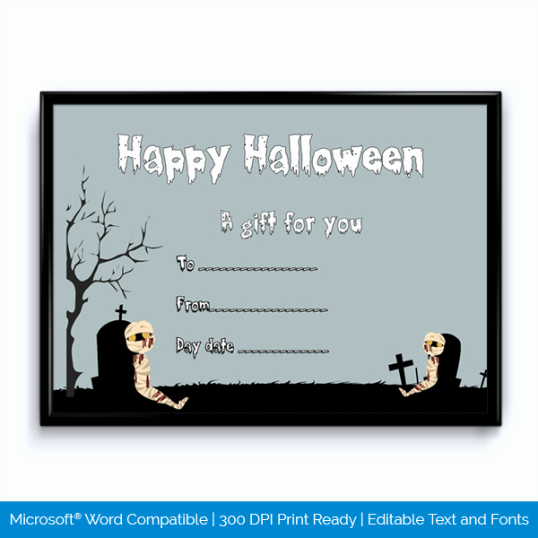 Halloween Gift Certificate Template Awesome Mummy themed Halloween Gift Certificate Word Layouts