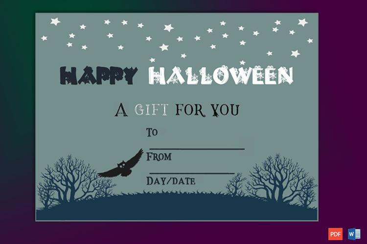 Halloween Gift Certificate Template Beautiful Halloween Gift Certificate Night Owl themed Gct