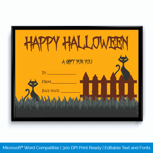 Halloween Gift Certificate Template Best Of Editable Halloween Gift Certificate October Word Layouts
