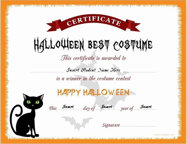 Halloween Gift Certificate Template Best Of Halloween Best Costume Certificate Templates