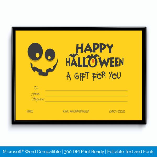 Halloween Gift Certificate Template Elegant Printable Halloween Certificate Word Layouts