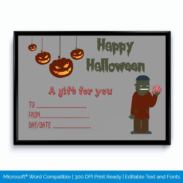 Halloween Gift Certificate Template Fresh Editable Halloween Gift Certificate Zombie Word Layouts