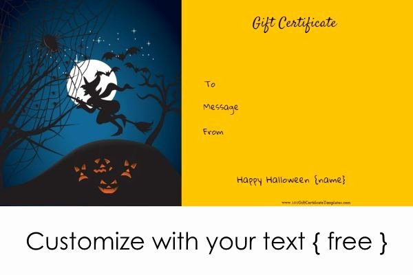 Halloween Gift Certificate Template Fresh Free Printable Halloween T Certificates All Text Can