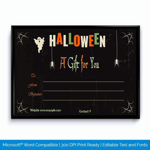 Halloween Gift Certificate Template Fresh Halloween Gift Certificate for Word Word Layouts
