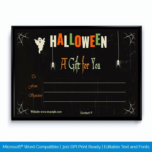 Halloween Gift Certificate Template Fresh Halloween Gift Certificate for Word Word Layouts