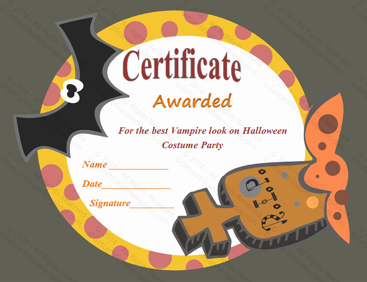 Halloween Gift Certificate Template Fresh Most Frightening Halloween Award Certificate Template