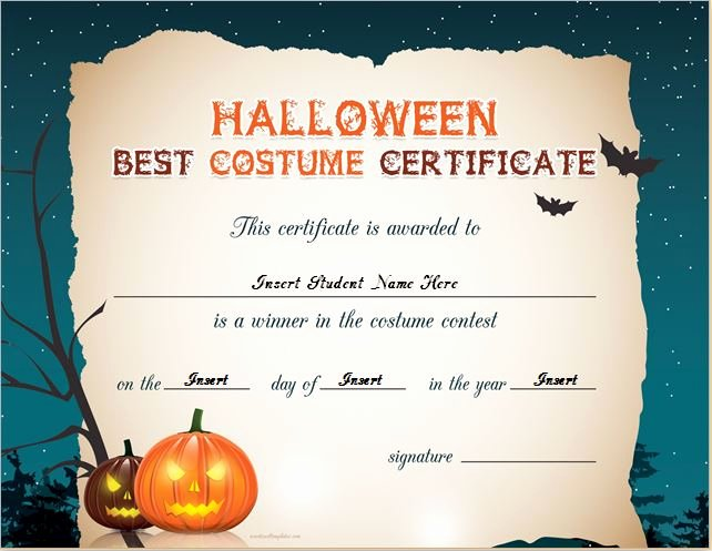 Halloween Gift Certificate Template Inspirational Halloween Best Costume Certificate Templates