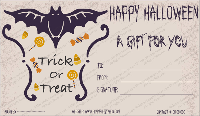 Halloween Gift Certificate Template Luxury Halloween Gift Gift Template 2 Create Halloween Certificates