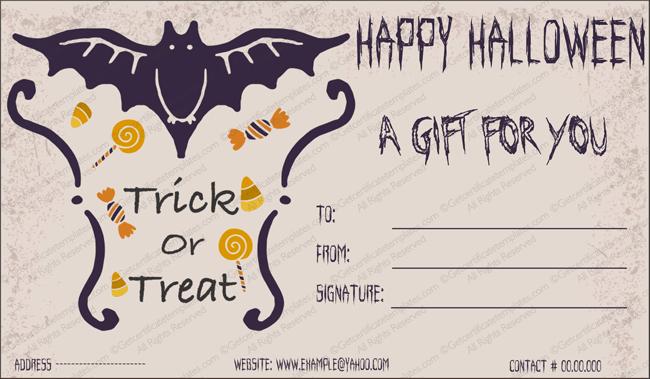 Halloween Gift Certificate Template Luxury Halloween Gift Gift Template 2 Create Halloween Certificates