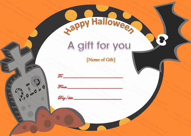 Halloween Gift Certificate Template Luxury Happy Halloween Gift Certificate Template