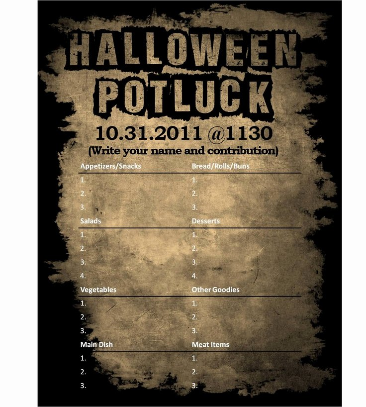 Halloween Potluck Sign Up Sheet Beautiful I Designed A Halloween Potluck Sign Out Sheet for My