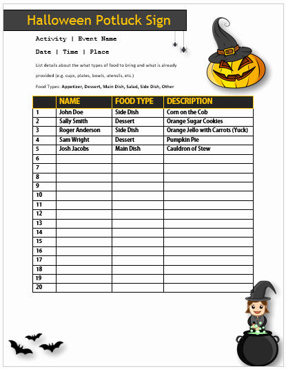 Halloween Potluck Sign Up Sheet Elegant 25 Of Halloween Potluck Sign Up Sheet Template