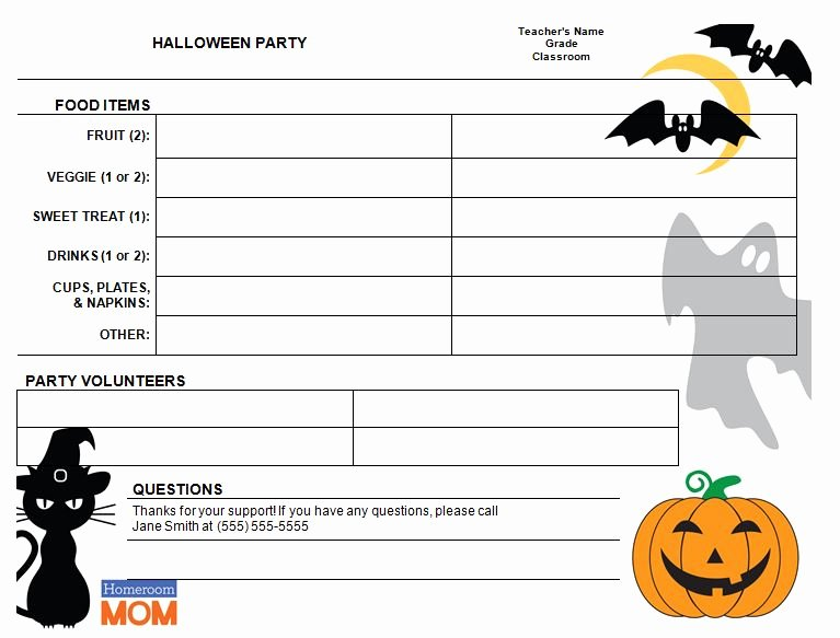 Halloween Potluck Signup Sheet Fresh Halloween Sign Up Sheet Templates – Festival Collections