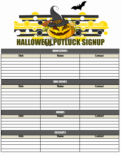 Halloween Potluck Signup Sheet Template Luxury Halloween Potluck Signup Sheet – Festival Collections