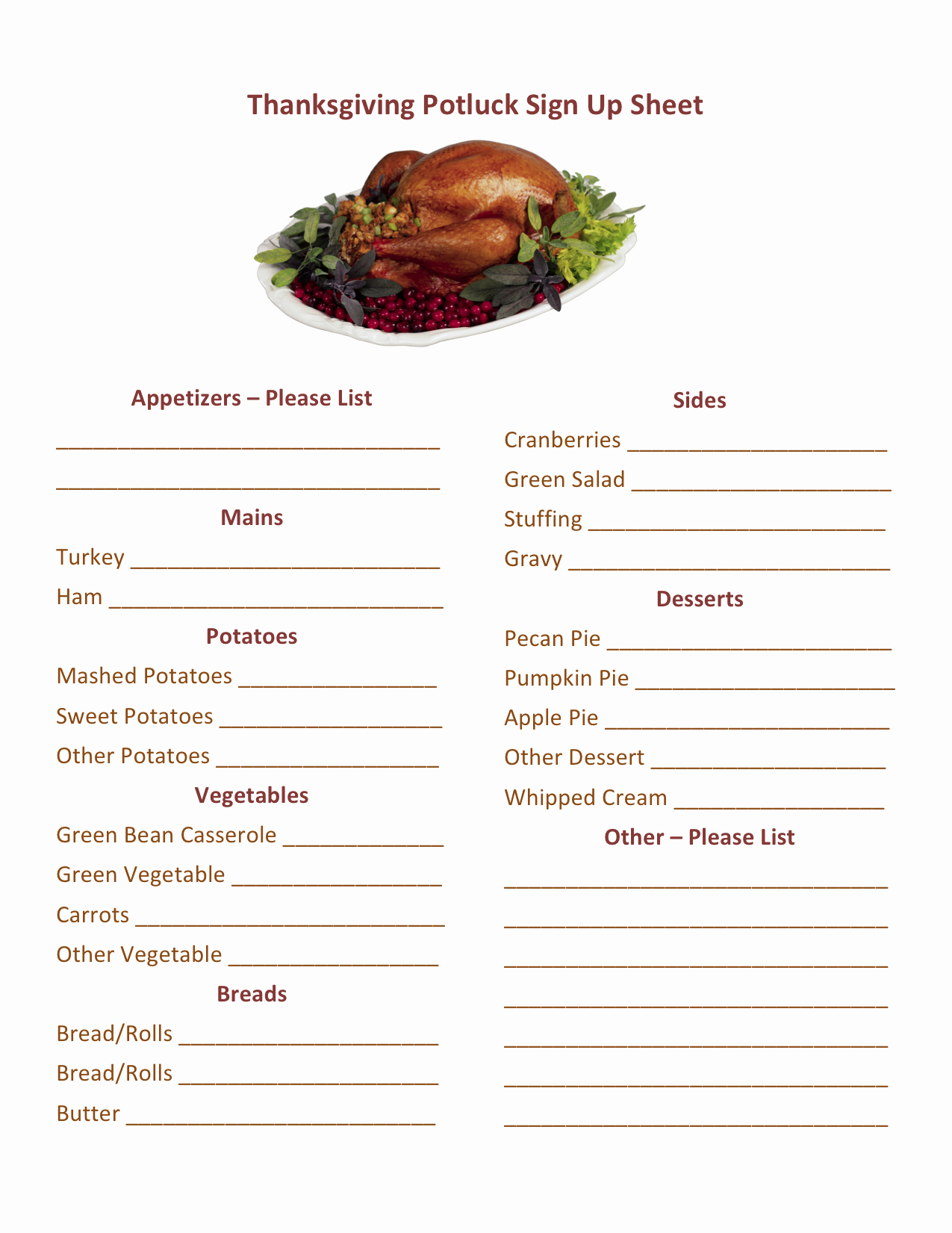 Halloween Potluck Signup Sheet Template New Thanksgiving Potluck Sign Up Printable