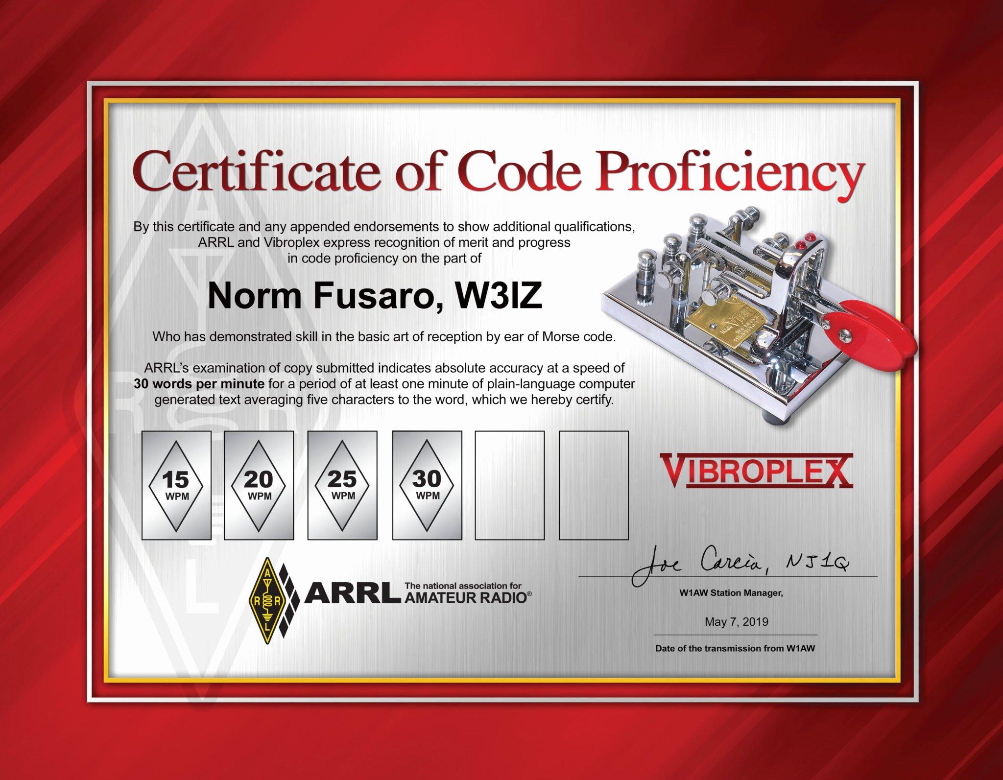 Ham Radio Certificate Maker Beautiful Arrl Amping Up Code Proficiency Awards Kb6nu S Ham Radio