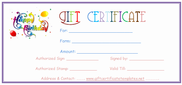 Happy Birthday Certificate Template Awesome Simple Balloons Birthday T Certificate Template