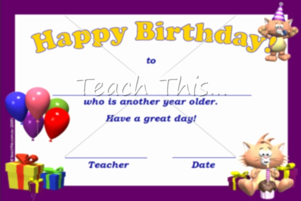 Happy Birthday Certificate Template Elegant Happy Birthday Certificate Another Year Older