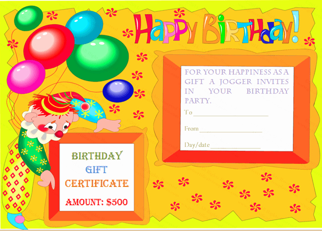 Happy Birthday Certificate Template Lovely Birthday Gift Certificate Templates Certificate Templates