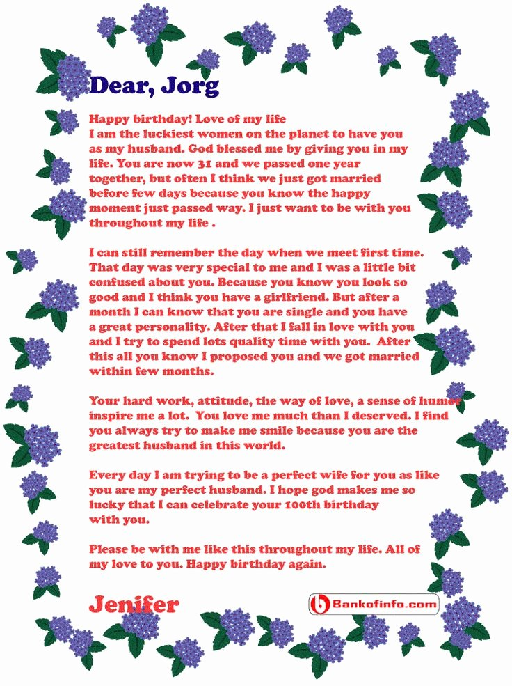 Happy Birthday to My Husband Letter Elegant 31 Best Images About Letter On Pinterest