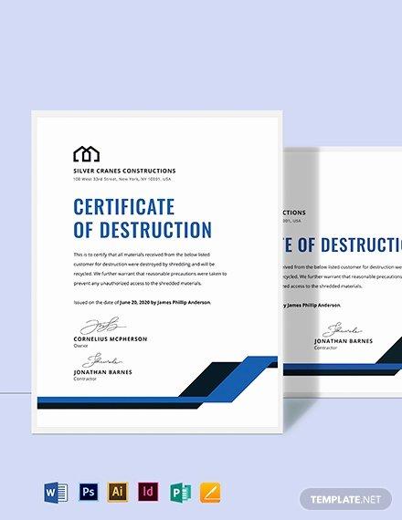 Hard Drive Destruction Certificate Template Awesome Free Certificate Of Destruction Template Download 518