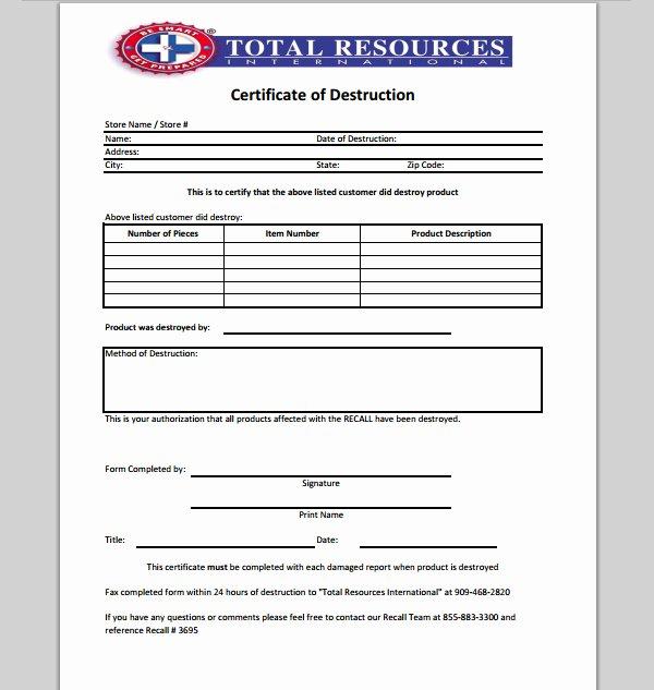 Hard Drive Destruction Certificate Template Luxury 21 Of Records Destruction Log Template
