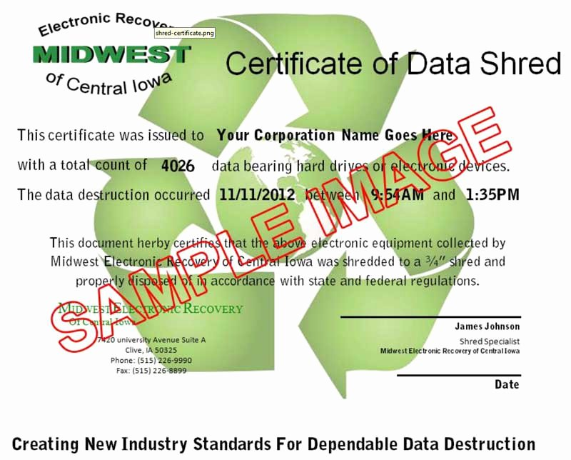 Hard Drive Destruction Certificate Template Luxury Mobile Electronic Shredding