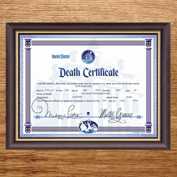 Haunted Mansion Death Certificate Template Awesome Disney Haunted Mansion Death Certificate Digital File