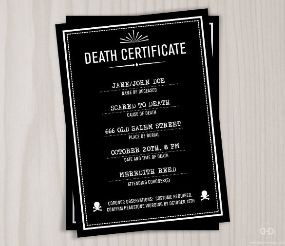 Haunted Mansion Death Certificate Template Lovely 11 Sample Death Certificate Templates Pdf Doc