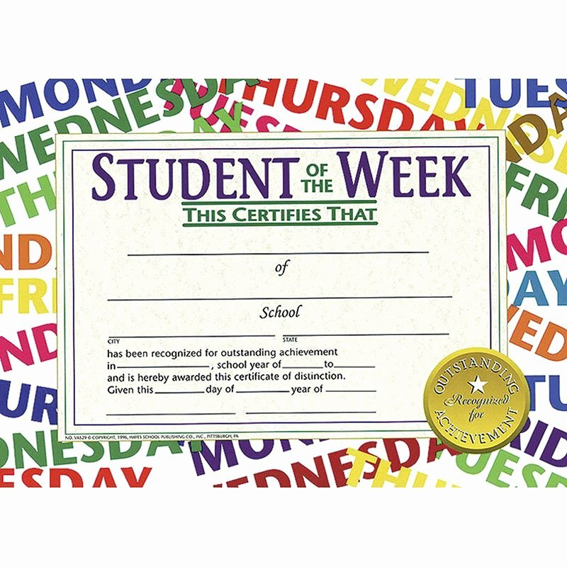 High Quality Certificate Paper Elegant Student Of the Week 30 Pk 8 5 X 11 Products