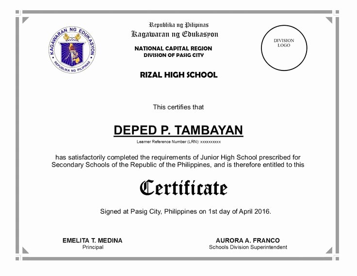 High School Certificate Of Completion Example Awesome Deped Diploma Sample Wordings Yahoo Image Search Results