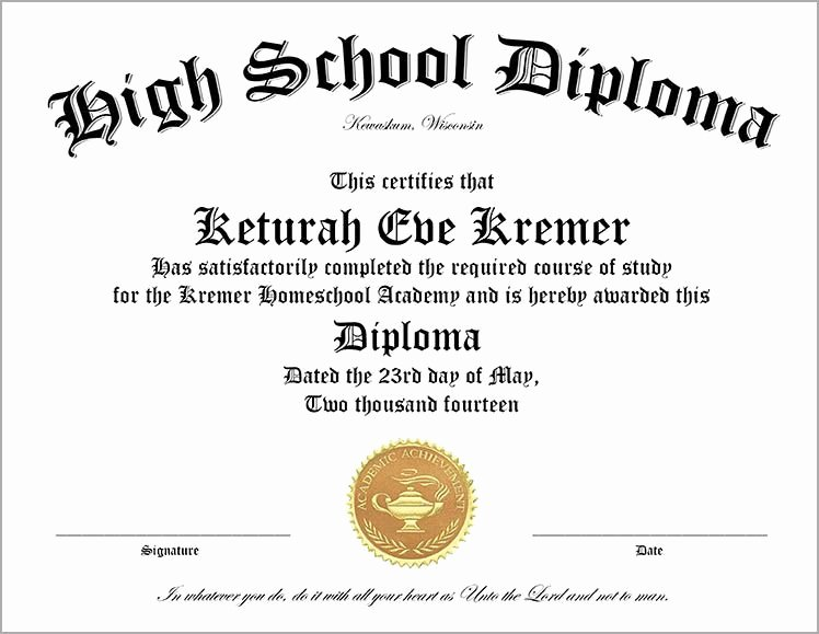 High School Certificate Of Completion Example Elegant Free Printable High School Diploma Template Huge