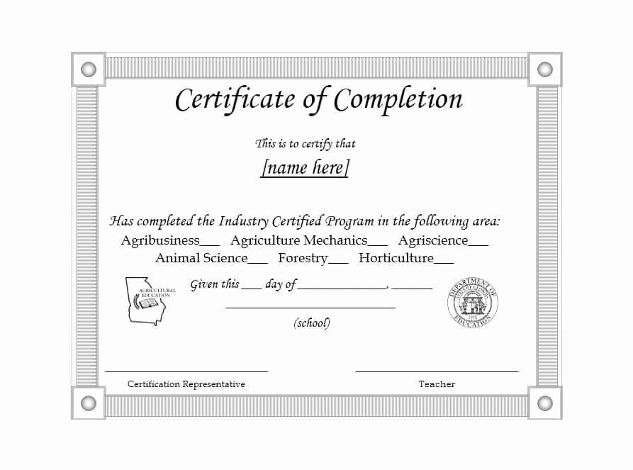 High School Certificate Of Completion Example Fresh 40 Fantastic Certificate Of Pletion Templates [word
