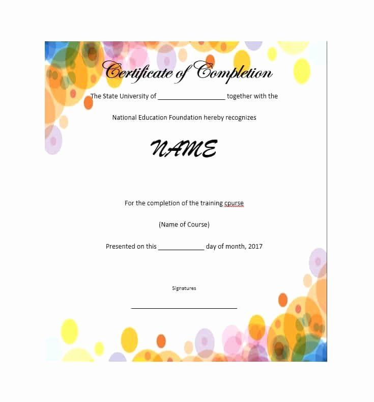 High School Certificate Of Completion Example Inspirational 40 Fantastic Certificate Of Pletion Templates [word
