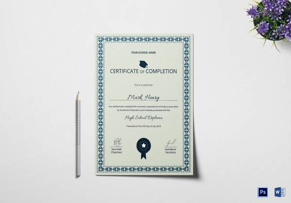 High School Certificate Of Completion Example Lovely Free 40 School Certificate Templates In Samples Examples