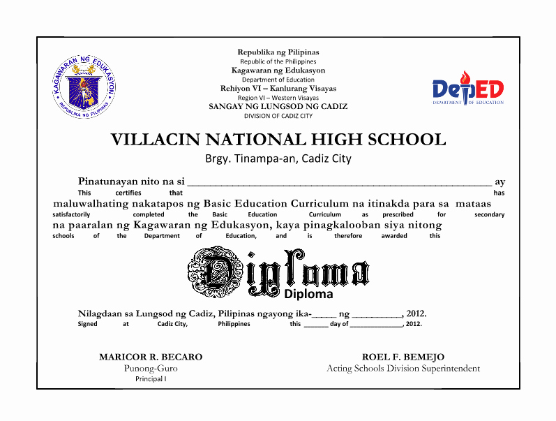 High School Certificate Of Completion Example Luxury Deped Secondary School Diploma Sample Only Deped Lp S