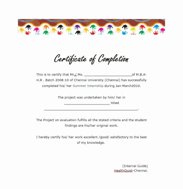 High School Certificate Of Completion Example Unique 40 Fantastic Certificate Of Pletion Templates [word