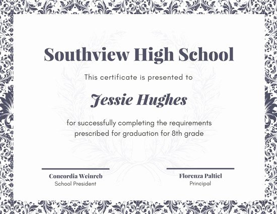 High School Certificate Template Best Of Customize 325 High School Diploma Certificate Templates