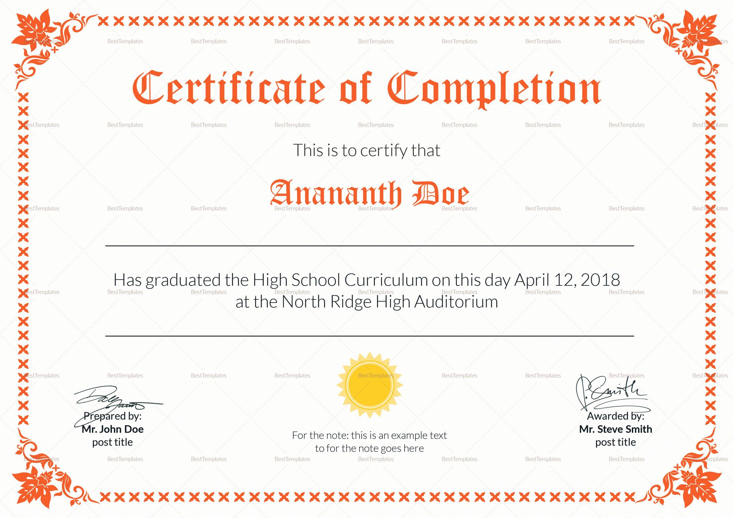 High School Certificate Template Best Of High School Diploma Certificate Design Template In Psd Word