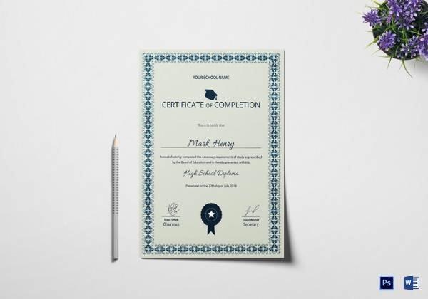 High School Certificate Template Elegant Free 40 School Certificate Templates In Samples Examples